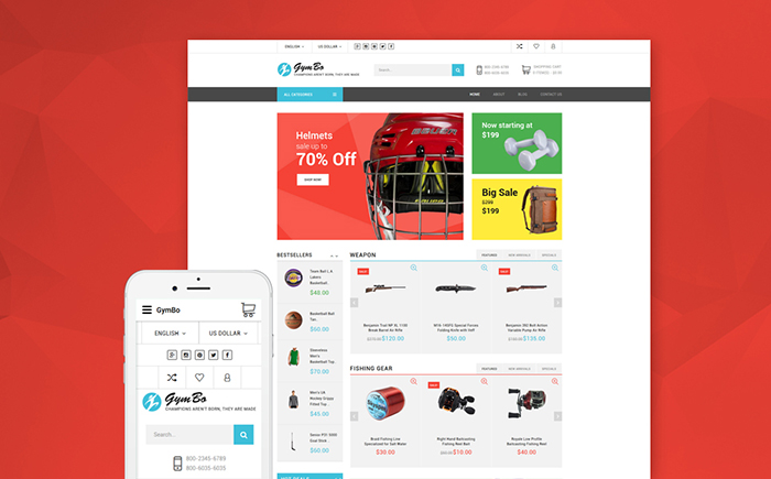 gym equipment OpenCart template