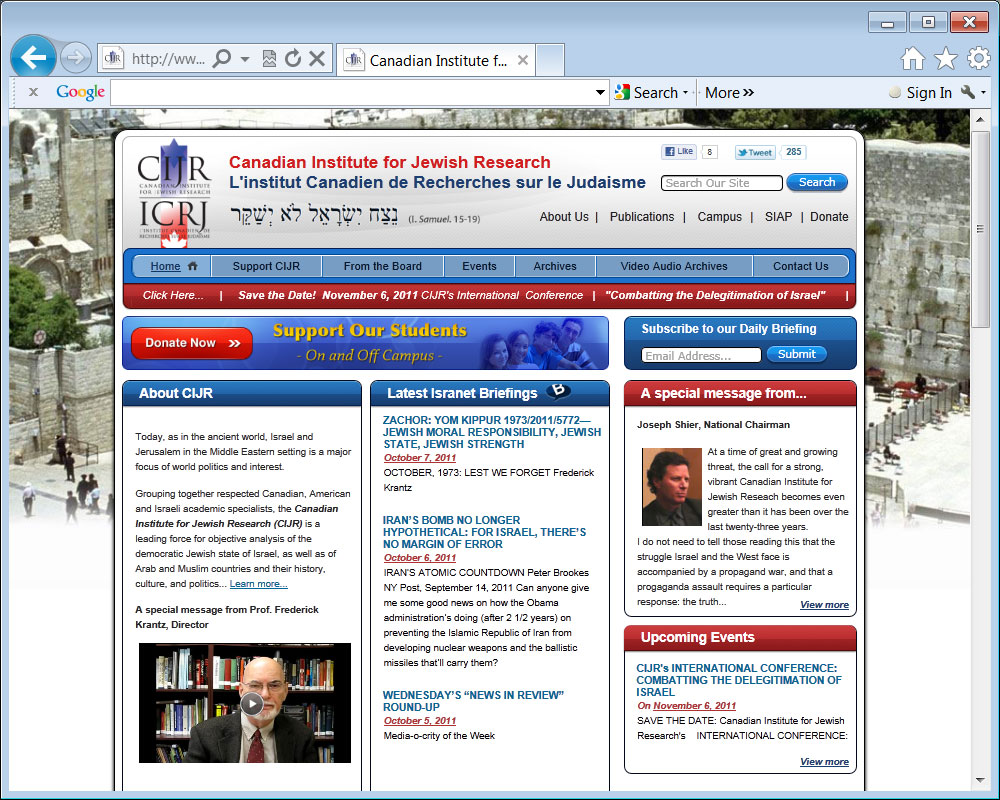 The Canadian Institute for Jewish Research (CIJR) Isranet.org